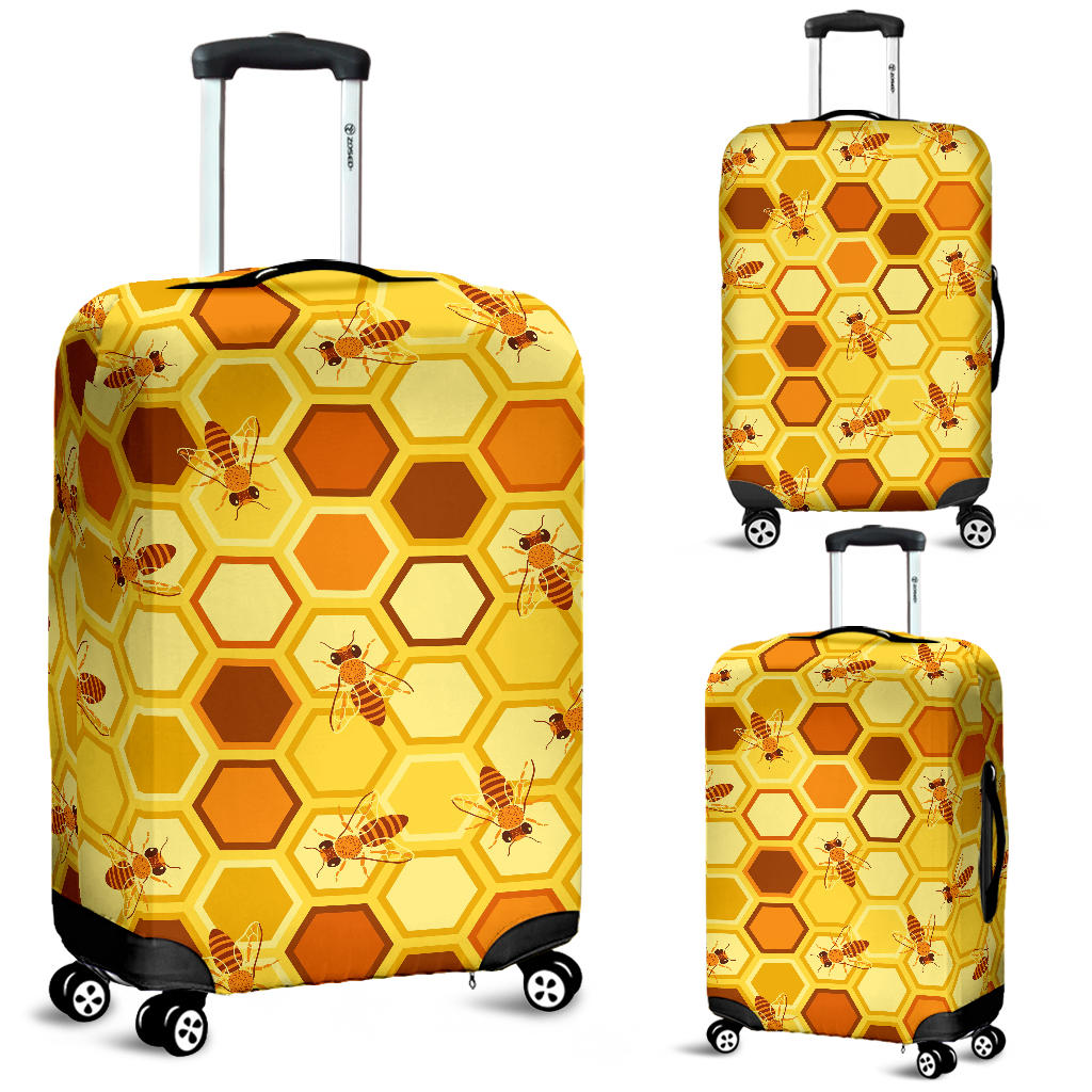 Bee and Honeycomb Pattern Luggage Covers