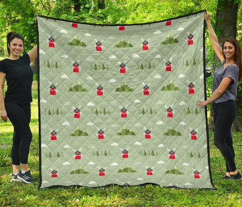 Windmill Green Pattern Premium Quilt