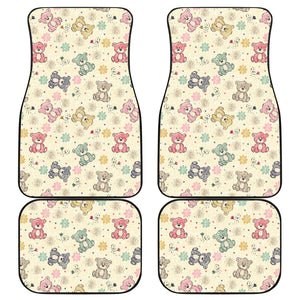 Teddy Bear Pattern Print Design 05 Front and Back Car Mats