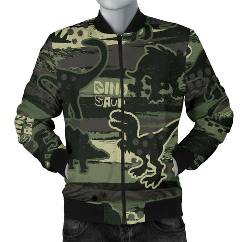 Dinosaur Camo Pattern Men Bomber Jacket