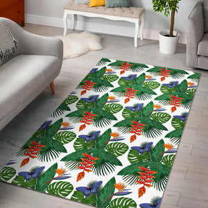 Heliconia Butterfly Leaves Pattern Area Rug