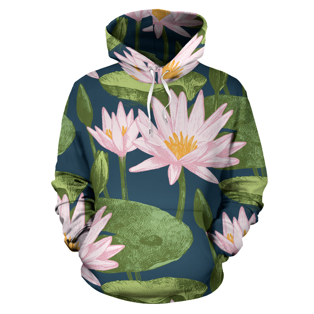 Lotus Waterlily Pattern background Pullover Hoodie