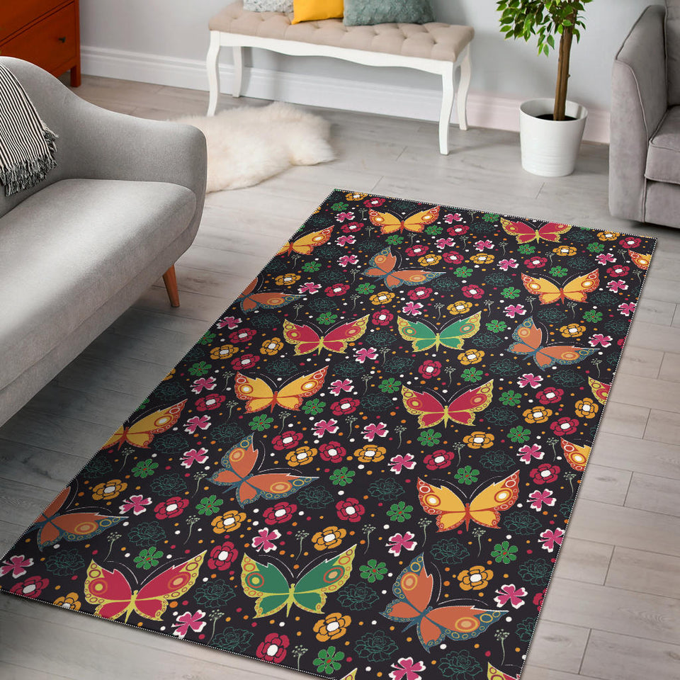 Butterfly Flower Pattern Area Rug