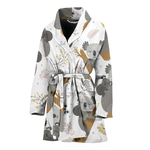 Koala Mom and Baby Pattern Women Bathrobe
