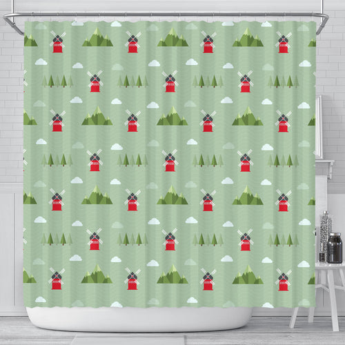 Windmill Green Pattern Shower Curtain Fulfilled In US