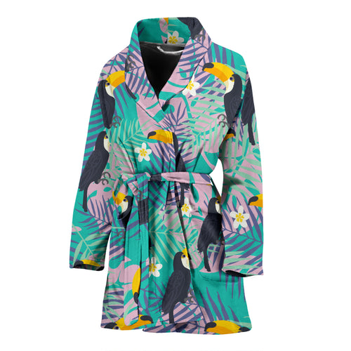 Toucan Pattern Background Women Bathrobe