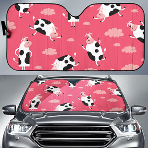 Cow Pattern Pink Background Car Sun Shade