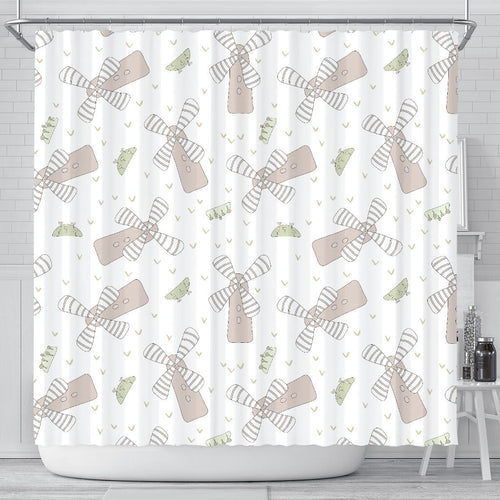 Windmill Pattern Background Shower Curtain