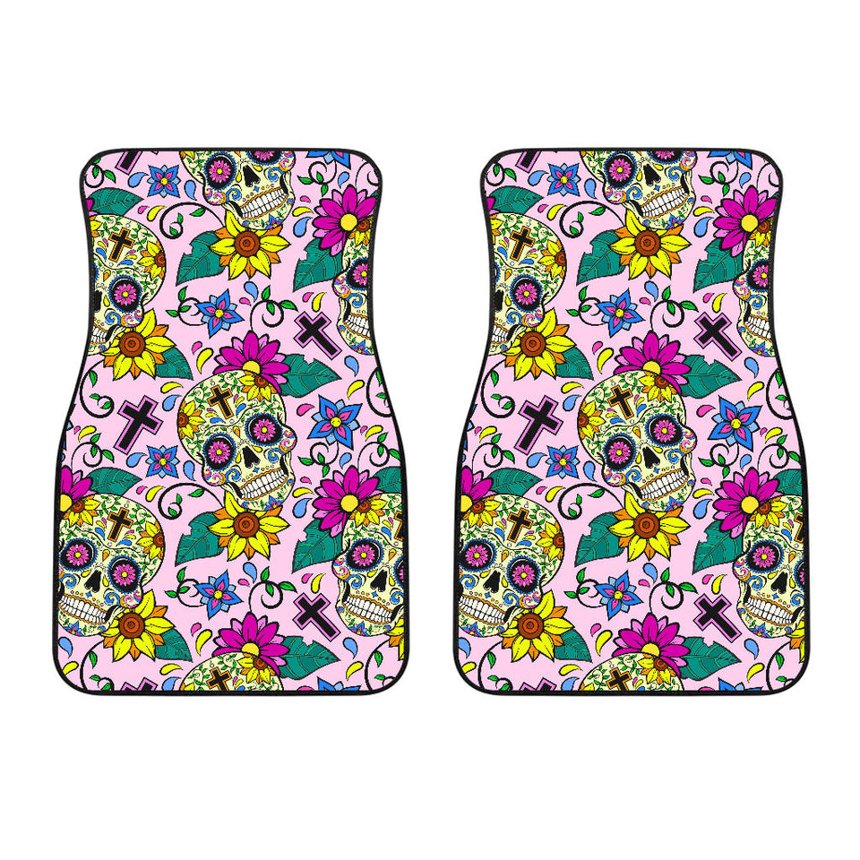 Colorful Suger Skull Pattern Front Car Mats