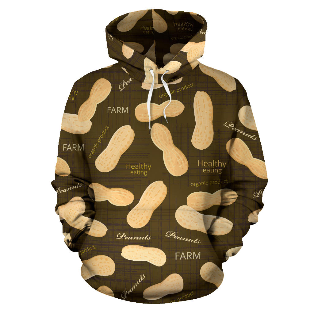 Peanut Pattern Green Background Men Women Pullover Hoodie