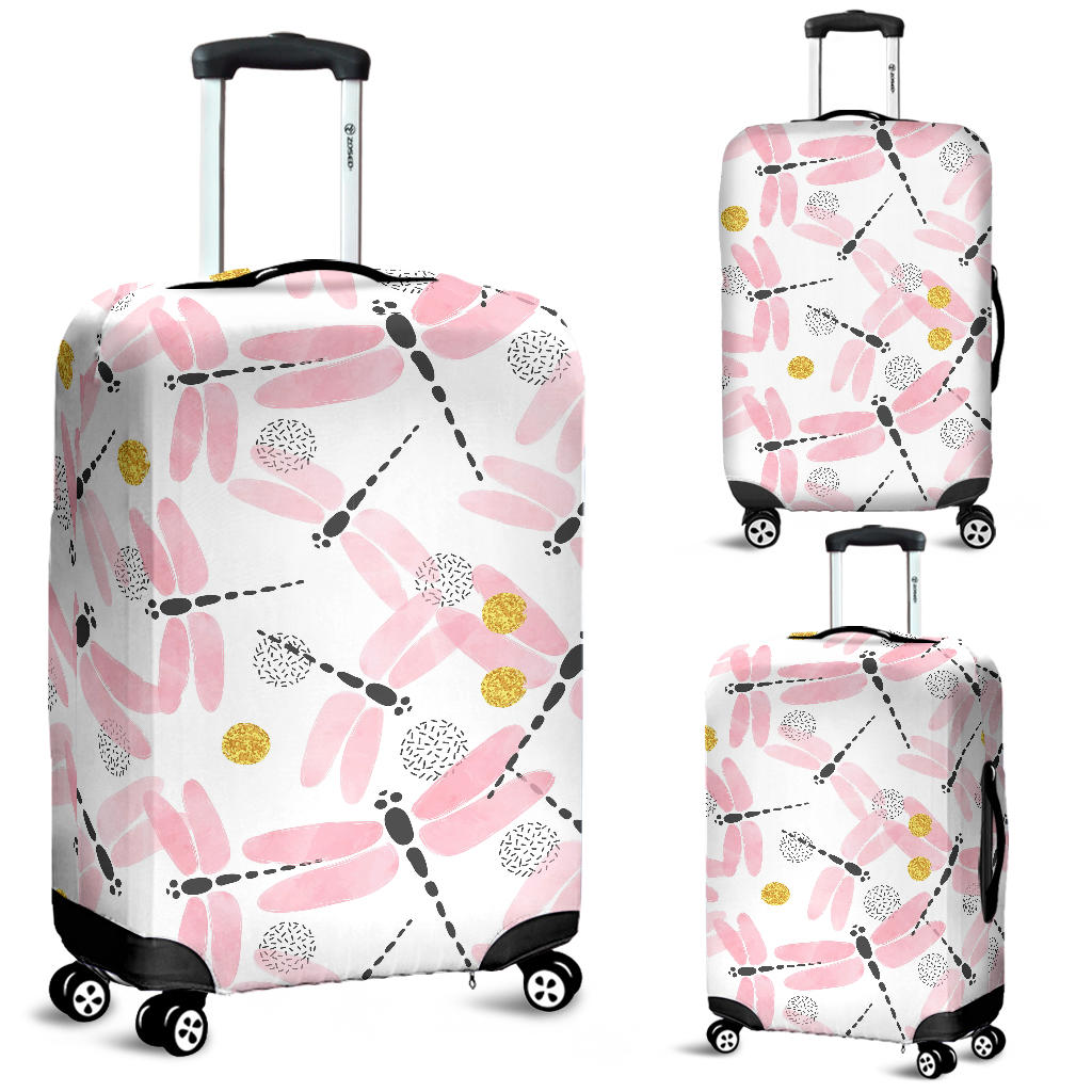 Pink Dragonfly Pattern Luggage Covers