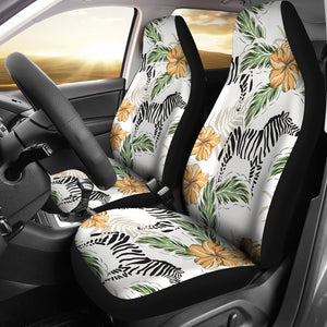 Zebra Hibiscus Pattern Universal Fit Car Seat Covers