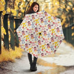 Teddy Bear Pattern Print Design 04 Umbrella