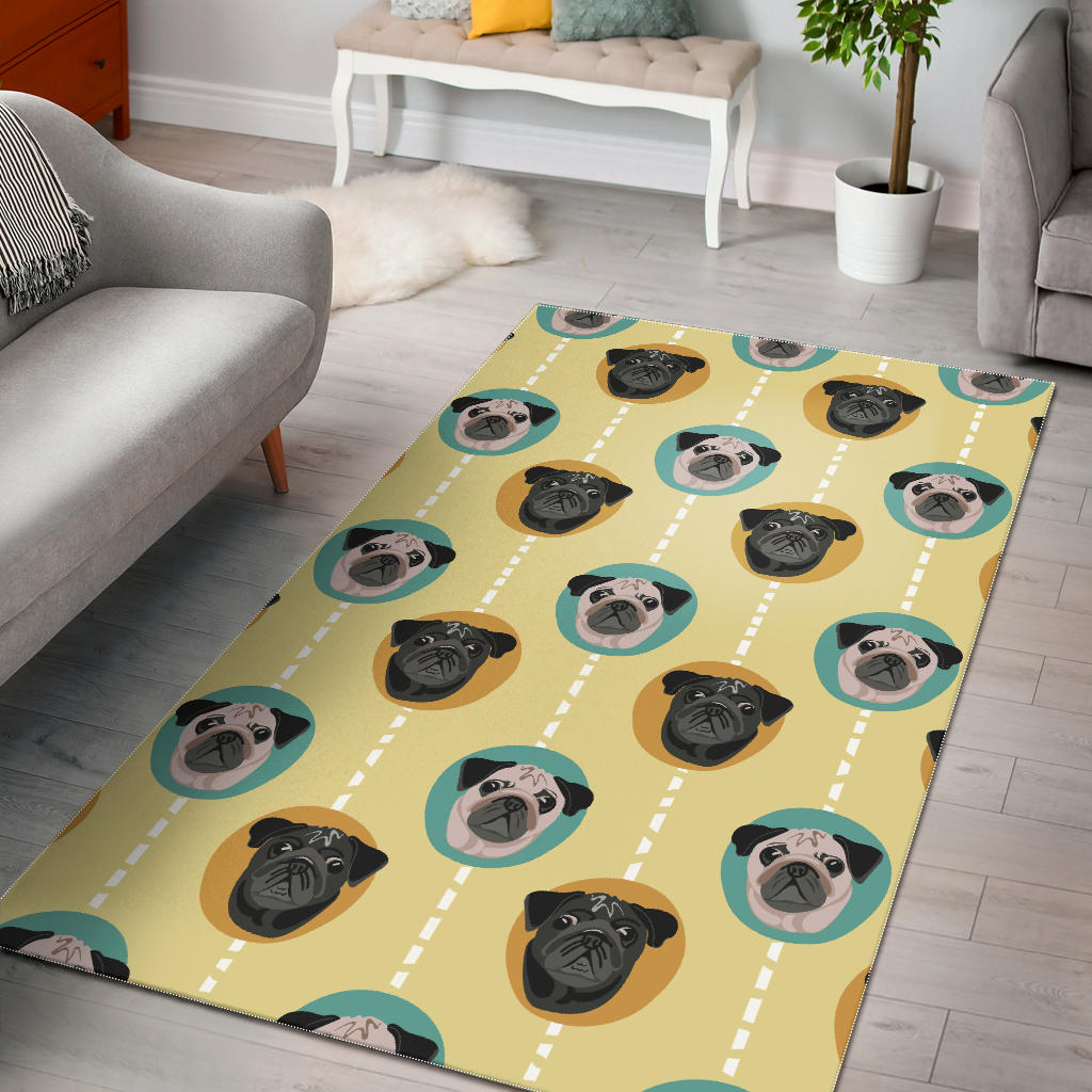 Pug Head Pattern Area Rug