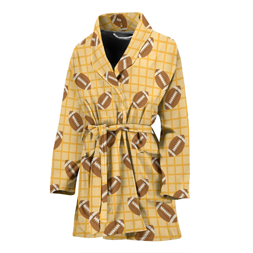 American Football Ball Pattern Yellow Background Women Bathrobe