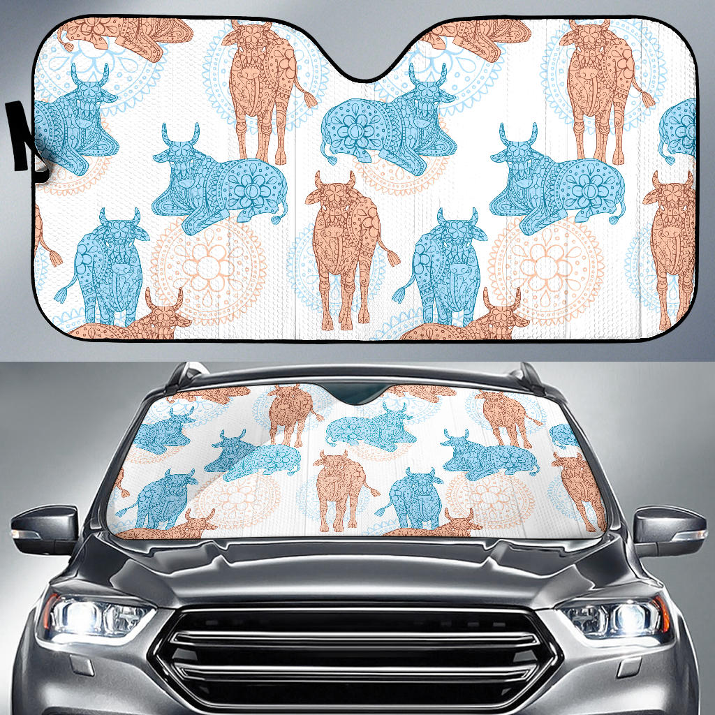 Cow Tribal Pattern Car Sun Shade