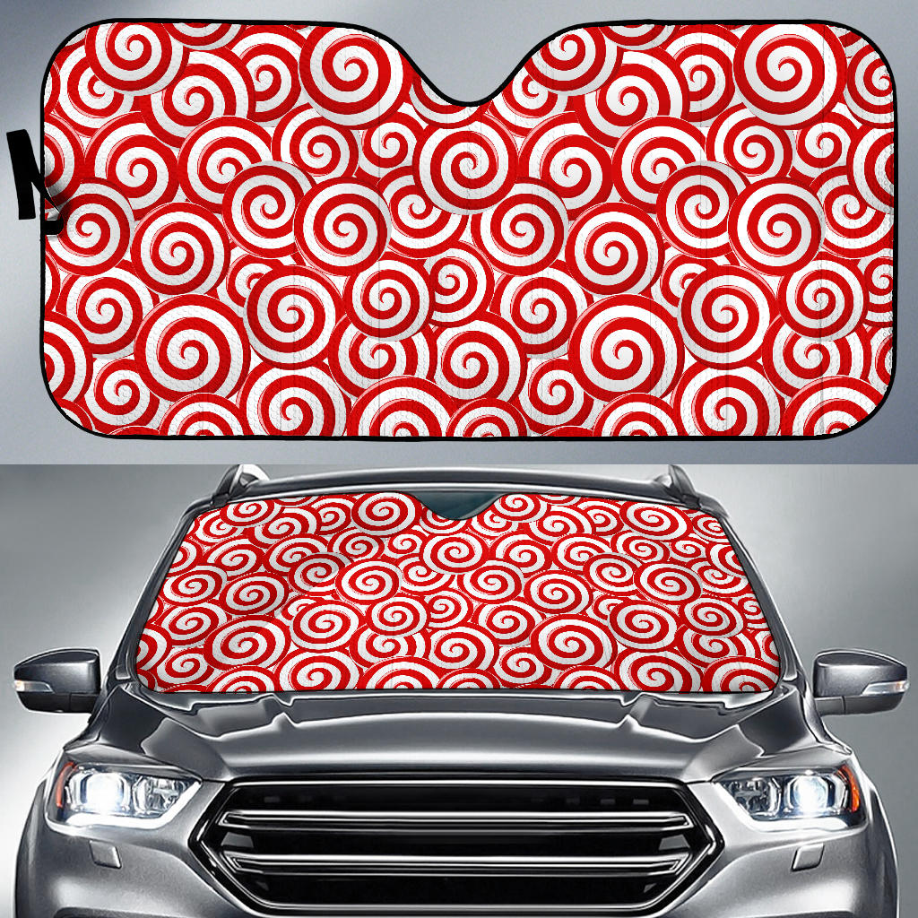 Red and White Candy Spiral Lollipops Pattern Car Sun Shade