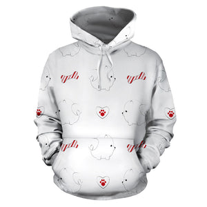 White Pomeranian Pattern Men Women Pullover Hoodie
