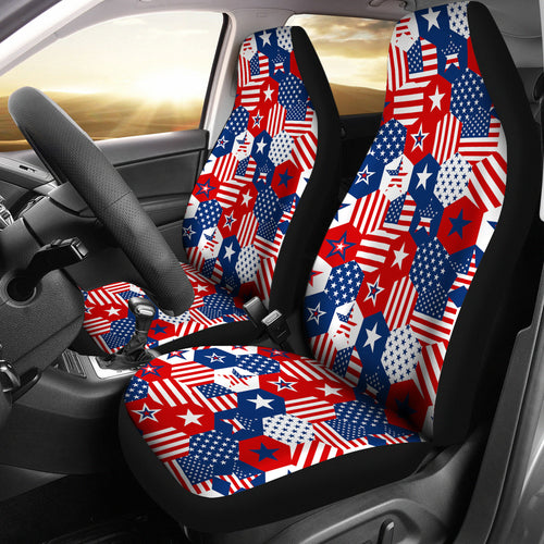USA Star Hexagon Pattern Universal Fit Car Seat Covers