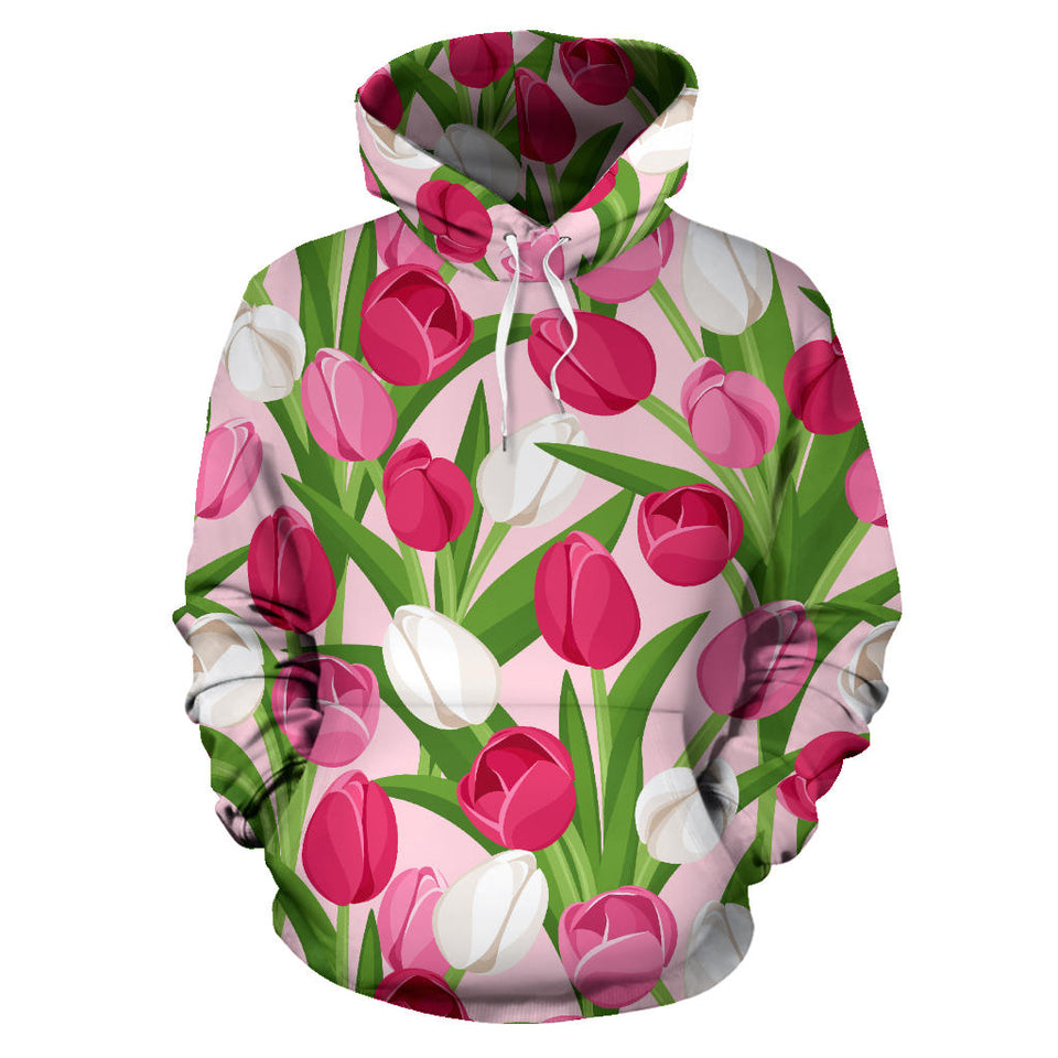 Pink White Tulip Pattern Men Women Pullover Hoodie