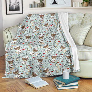 Teddy Bear Pattern Print Design 02 Premium Blanket
