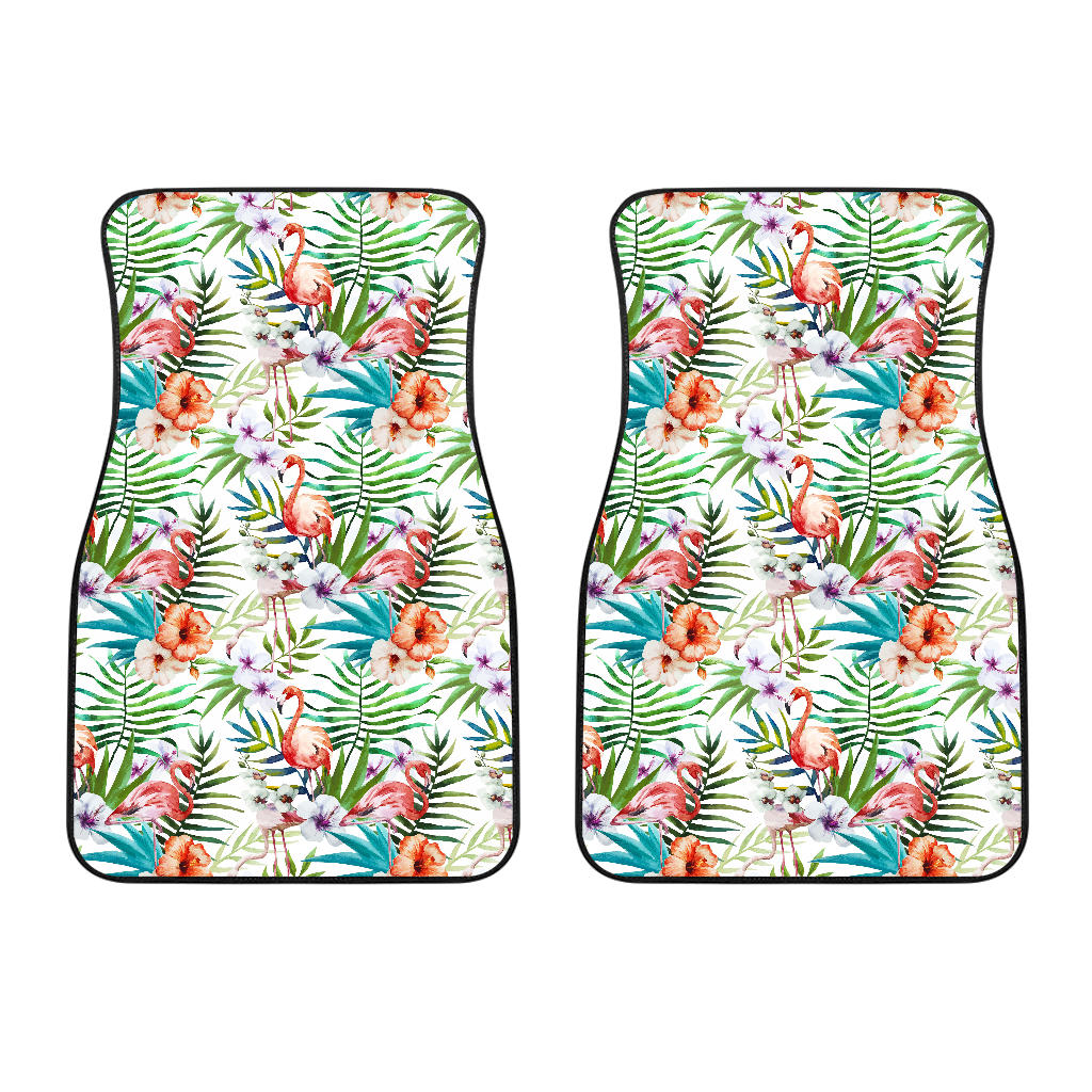 Flamingo Flower Leaves Pattern Front Car Mats