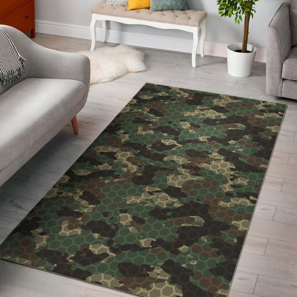 Green Camo Camouflage Honeycomb Pattern Area Rug