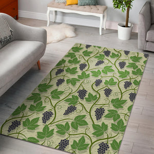 Grape Leaves Pattern Area Rug