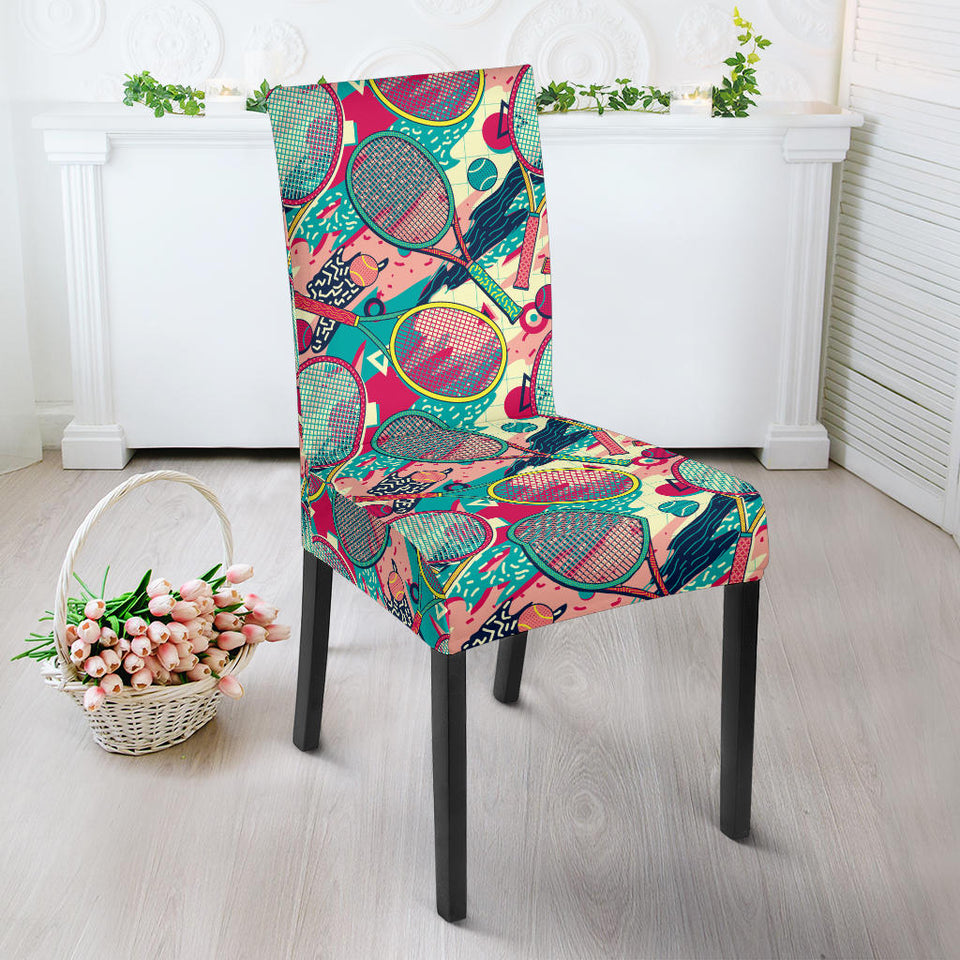 Tennis Pattern Print Design 01 Dining Chair Slipcover