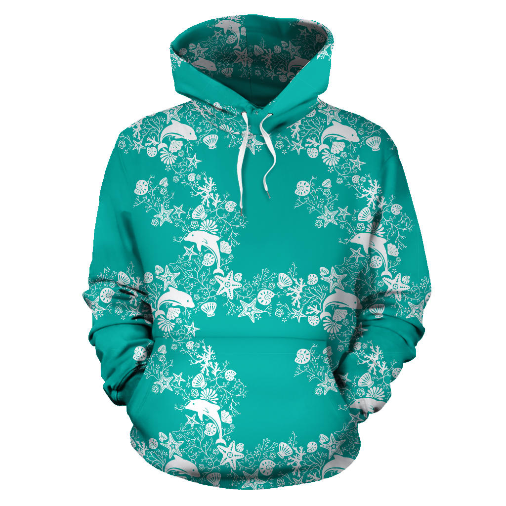 Dolphin Sea Shell Starfish Pattern Men Women Pullover Hoodie
