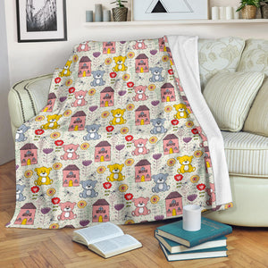 Teddy Bear Pattern Print Design 04 Premium Blanket