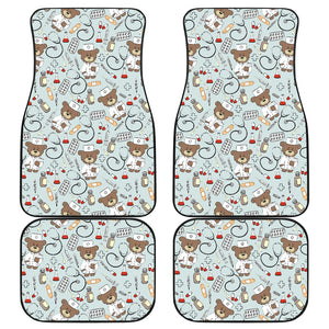 Teddy Bear Pattern Print Design 02 Front and Back Car Mats