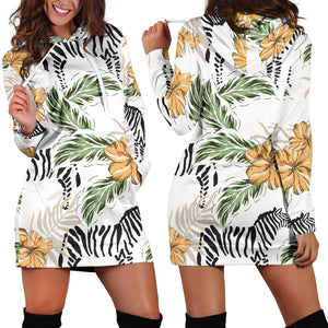 Zebra Hibiscus Pattern Women Hoodie Dress