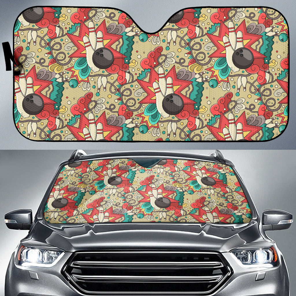 Bowling Pattern Background Car Sun Shade