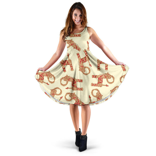 Yule Goat or Christmas goat Pattern Sleeveless Midi Dress