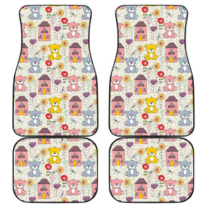 Teddy Bear Pattern Print Design 04 Front and Back Car Mats