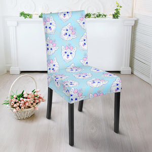 Yorkshire Terrier Pattern Print Design 01 Dining Chair Slipcover