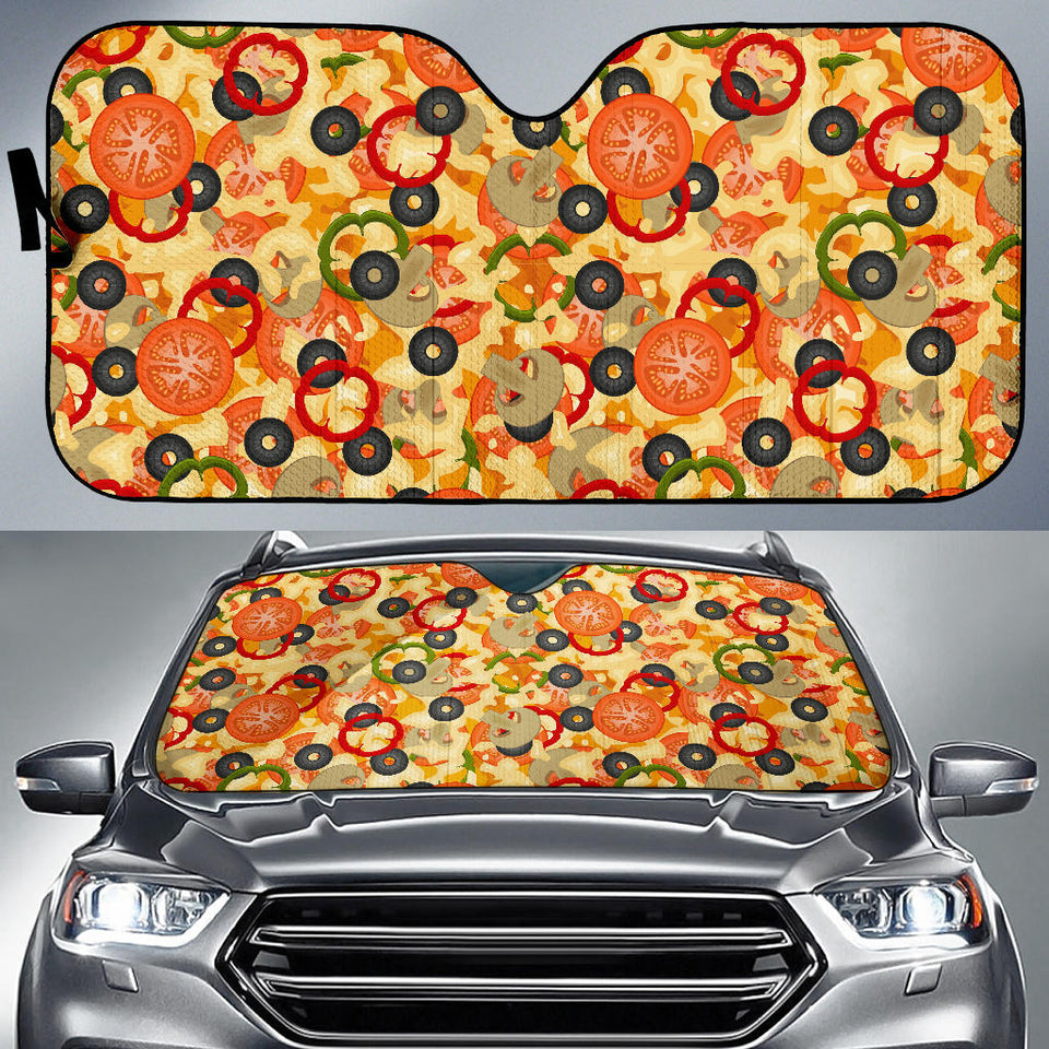 Pizza Texture Pattern Car Sun Shade