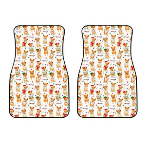 Christmas Corgi Pattern Background Front Car Mats