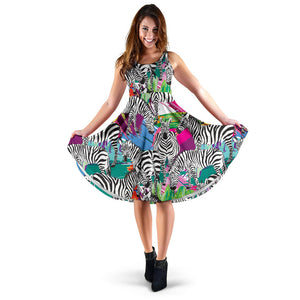 Zebra Colorful Pattern Sleeveless Midi Dress