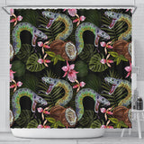 Snake Leaves Coconut Pattern Shower Curtain Fulfilled In US