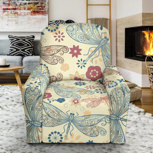 Dragonfly Flower Pattern Recliner Chair Slipcover