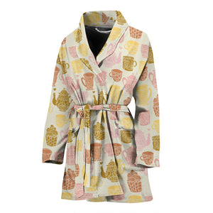 Tea pots Pattern Print Design 02 Women Bathrobe
