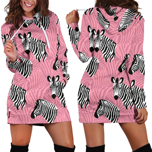 Zebra Head Pattern Women Hoodie Dress