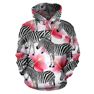 Zebra Red Hibiscus Pattern Men Women Pullover Hoodie