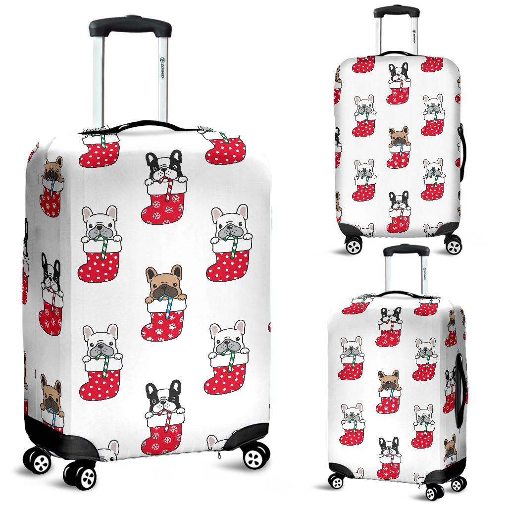 French Bulldog in Sock Pattern Luggage Covers