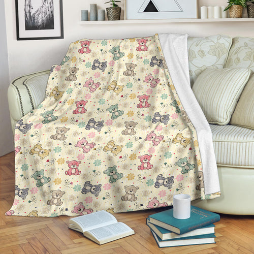 Teddy Bear Pattern Print Design 05 Premium Blanket