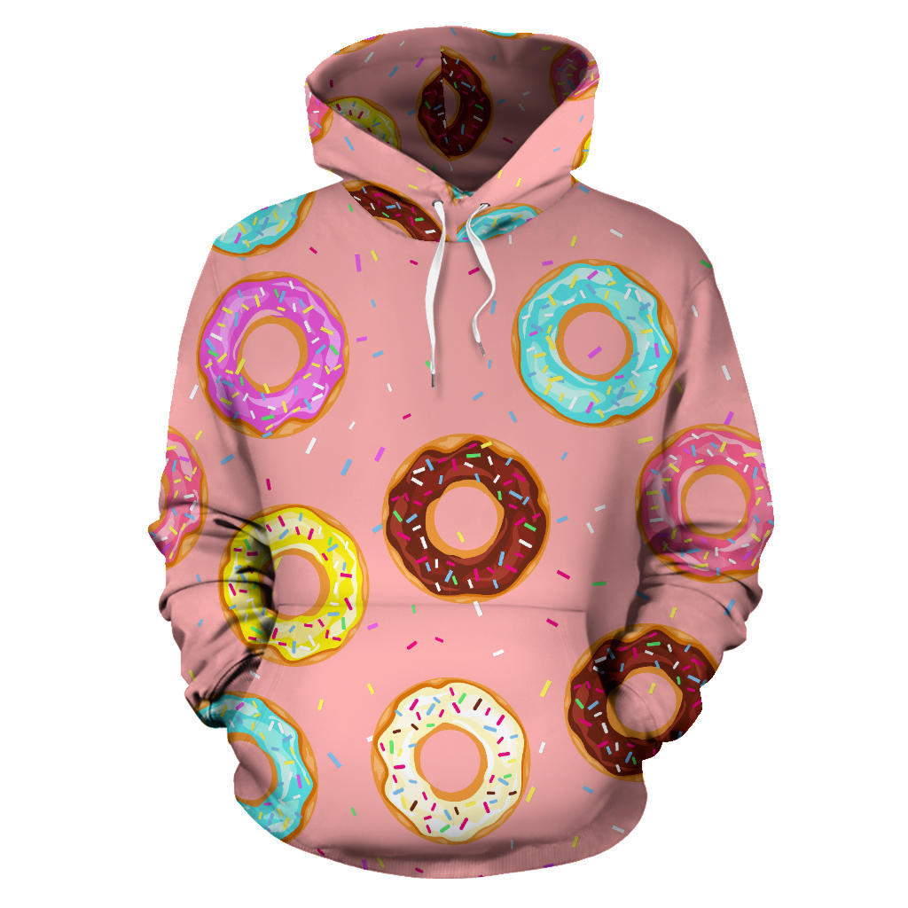 Donut Pattern Pink Background Pullover Hoodie