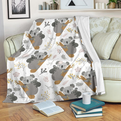 Koala Mom and Baby Pattern Premium Blanket