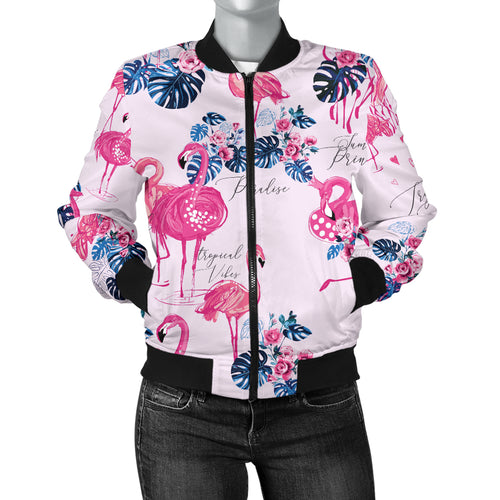 Flamingo Pink Pattern Women Bomber Jacket